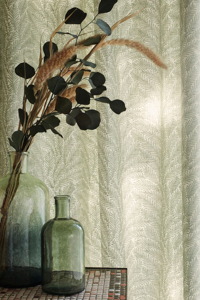 Rideaux Herbarium Vert Plis piqué flamand zoom